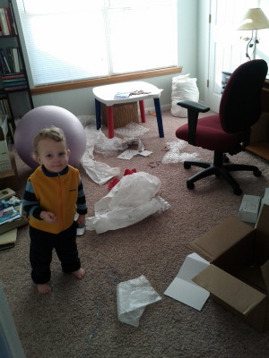 The author's office, roughly 0.67 seconds after inviting her 2-year-old to play quietly in there while she attempted to work. Photo credit: Sarah Arthur